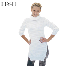 HYH HAOYIHUI 2016 Brand New Women Sweater Fashion Hollow Out Long Sleeve Shaping Split High Collar Solid White Knite