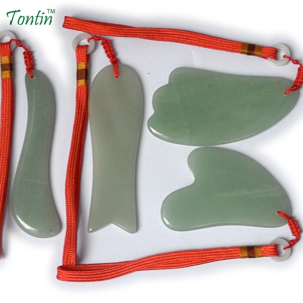 TONTIN NEW Acupuncture Massage Guasha Tool SPA Beauty kit Natural Aventurine 4 pcs/set (1pcs fish 1pcs S 1pcs triangle 1pcs Y) 1pcs 7mbr25sa120 70