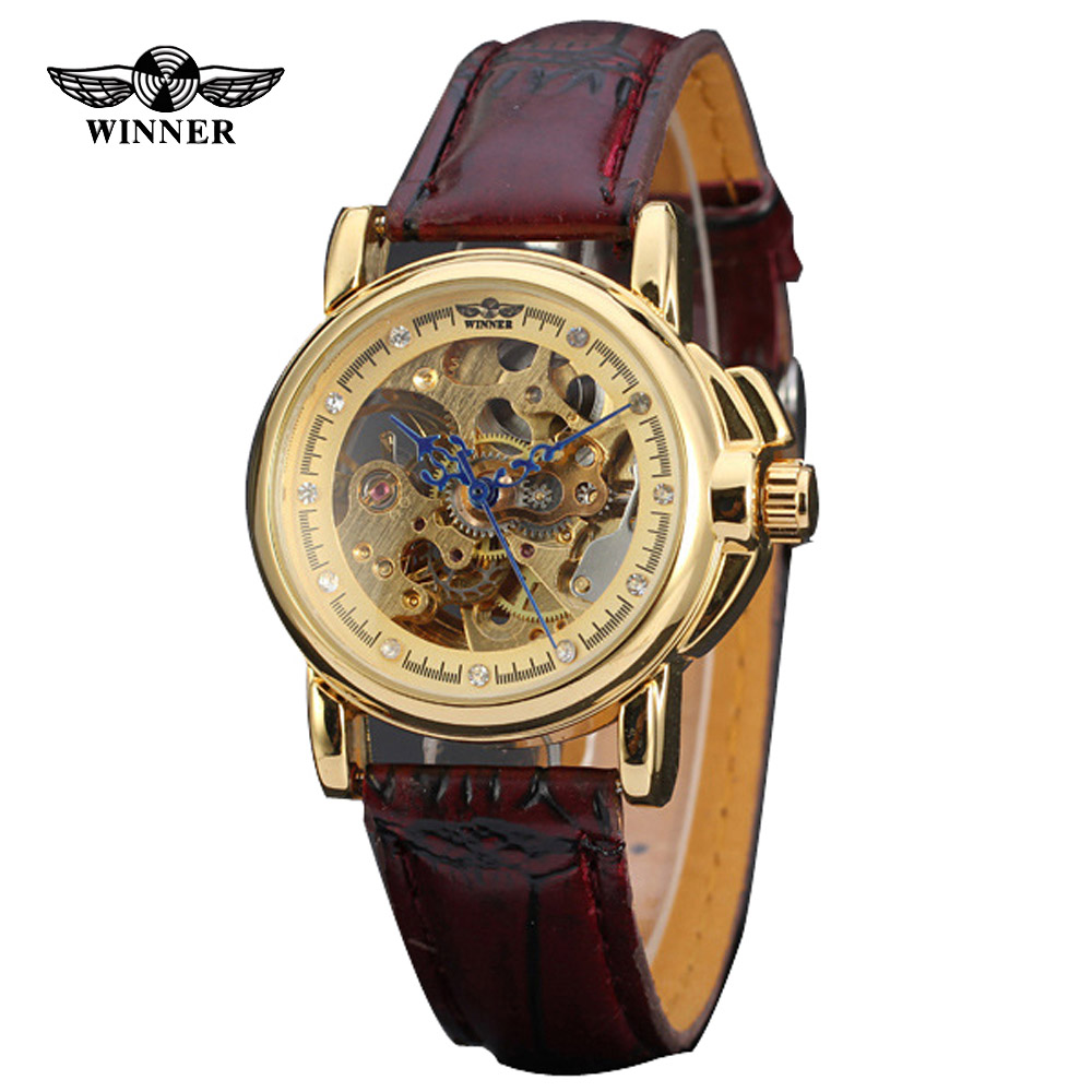 2016 Relogio Winner Skeleton Women Wristwatches Ladies Clock Leather Strap Steampunk Casual Watches Automatic Mechanical Watch winner women luxury brand stones skeleton leather band ladies watch mechanical hand wind wristwatches gift box relogio releges