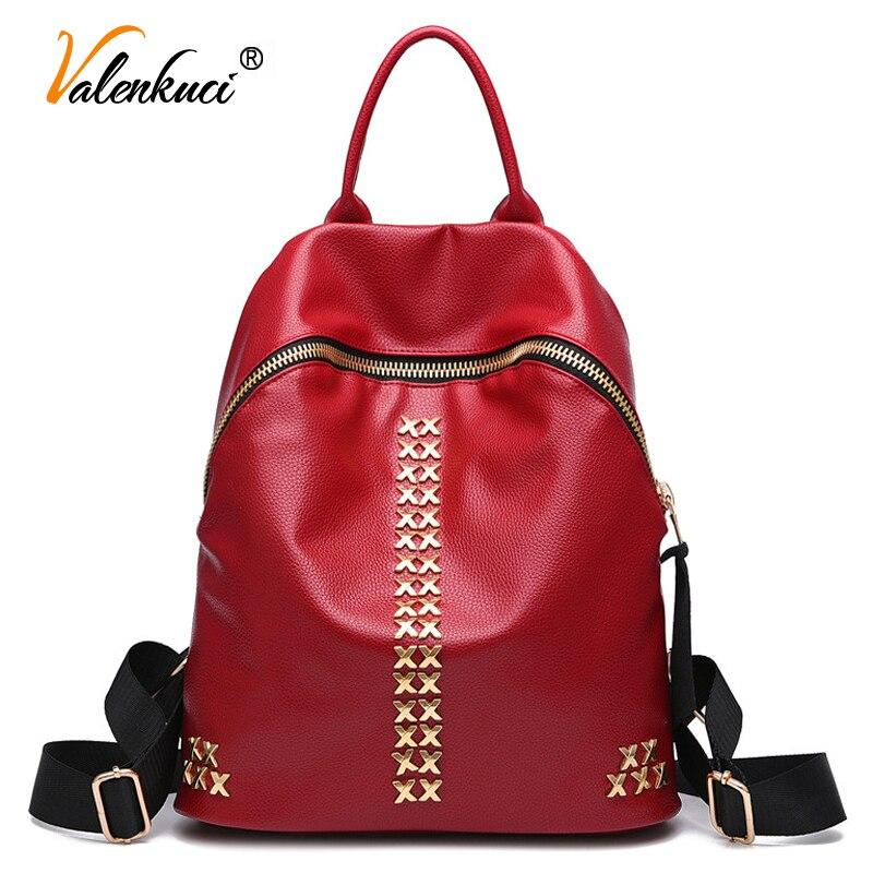Valenkuci new 2017 fashion women leather rivet backpacks women s backpacks school bags for teenage girls