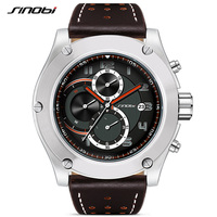 2017 SINOBI New Chronograph Date Waterproof Balck Thick High Design Big Dial Sports Reloj Watch Men