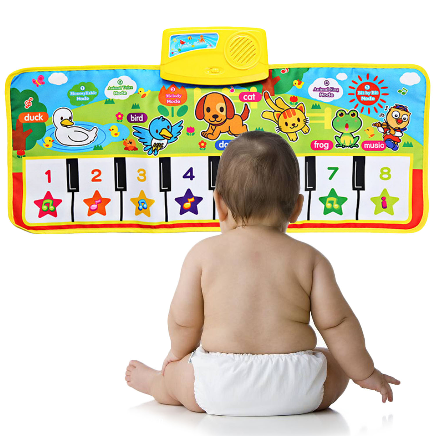 Kids Baby Cute Cartoon Piano Aniaml Music Play Mat Musical Instrument Carpet Sound Rug Crawling Blanket Playmat Educational Toy