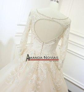 Image 4 - Vestidos de noiva 샴페인 컬러 a 라인 웨딩 드레스 백 홀 2019