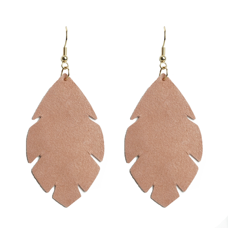 Cpop Feather Real Goat Leather Earrings for Women Simple Elegant Pendant Leaf Blue Statement Earring Leather Accessories Gifts in Drop Earrings from Jewelry Accessories