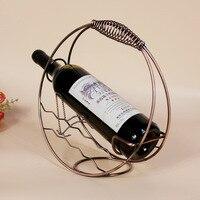 Fashion Mediterranean Style Ring Wine Rack Wrought Iron Metal Bronze Pure Handwork Western Household Wine Shelf