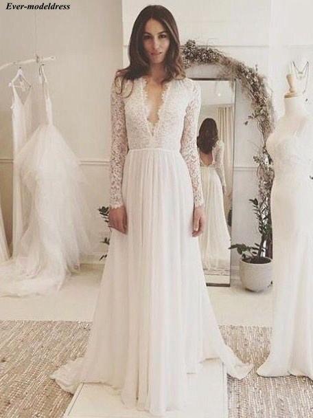 Boho Wedding Dresses Lace Long Sleeves A-Line Deep V-Neck Open Back Sweep Train Chiffon Sexy Bridal Gowns Robe De Mariee 2019