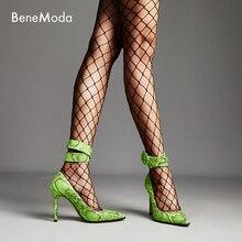 green snake pointed toe high heel latest fashion work ladies pumps 11cm