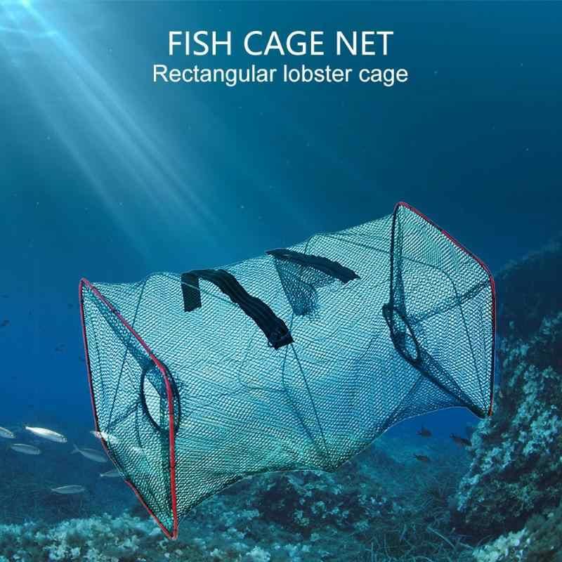 Catcher Armadilha de Caranguejo Peixe Camarão Gaiola Rede de pesca de Malha Portátil Enfrentar Portátil Jogo Pequena Rede De Malha