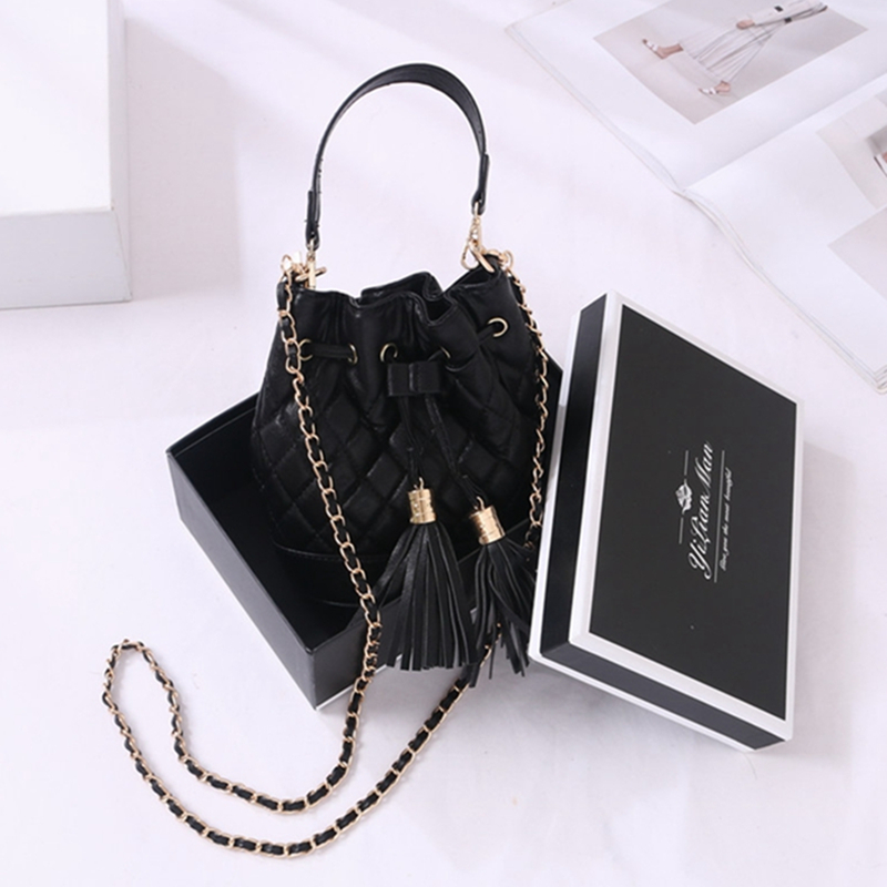 2018 New Fashion Women Mini Bucket Bag Ladies Small Shoulder Louis Bag Female Channels Cross Body Cc Hand Quilted Bag with Box