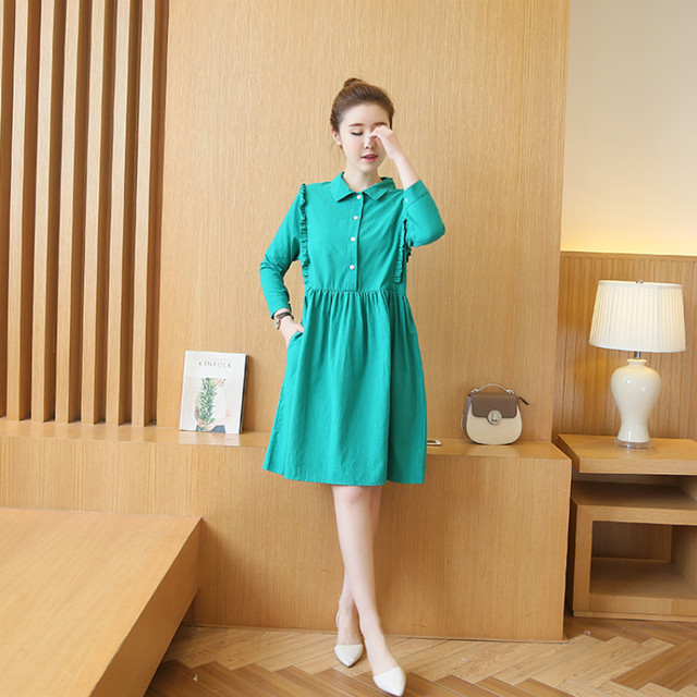 8c64e92a599 2017 New Arrival Summer Dresses For Pregnant Women Casual High Quality  Solid Turn-down Collar