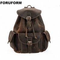 Винтаж Crazy Horse Пояса из натуральной кожи Рюкзаки Для мужчин рюкзак седло школьная сумка рюкзак Для мужчин рюкзак Bagpack LI 1320