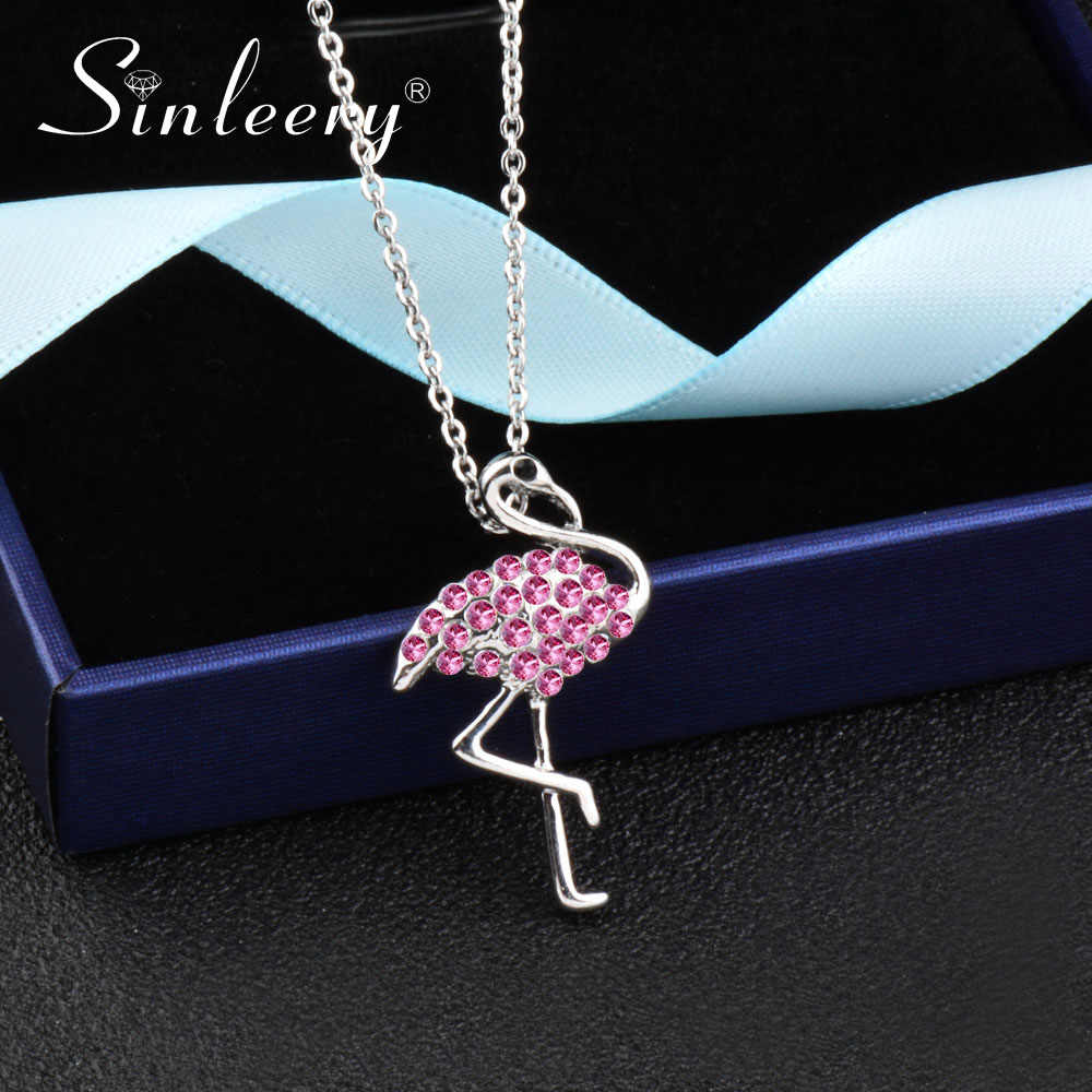 SINLEERY Silver Color Cute Pink Rhinestone Flamingo Pendant Women Necklace Fashion Party Collection Jewelry XL211 SSH