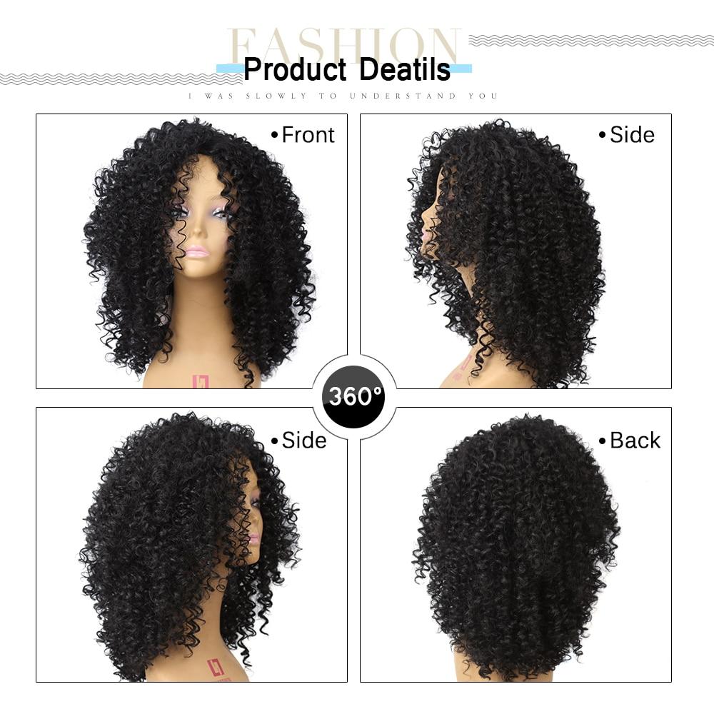 Amir Medium Long Afro Kinky Curly Syntetisk peruk för svarta kvinnor - Syntetiskt hår - Foto 5