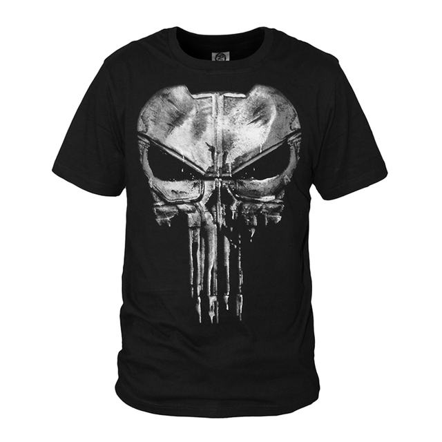 6283f05a6ab663 The Punisher Skull Ghost T-shirt Men Punisher Black Summer Short Sleeve T  Shirts Tops Printing Casual Cotton Tees