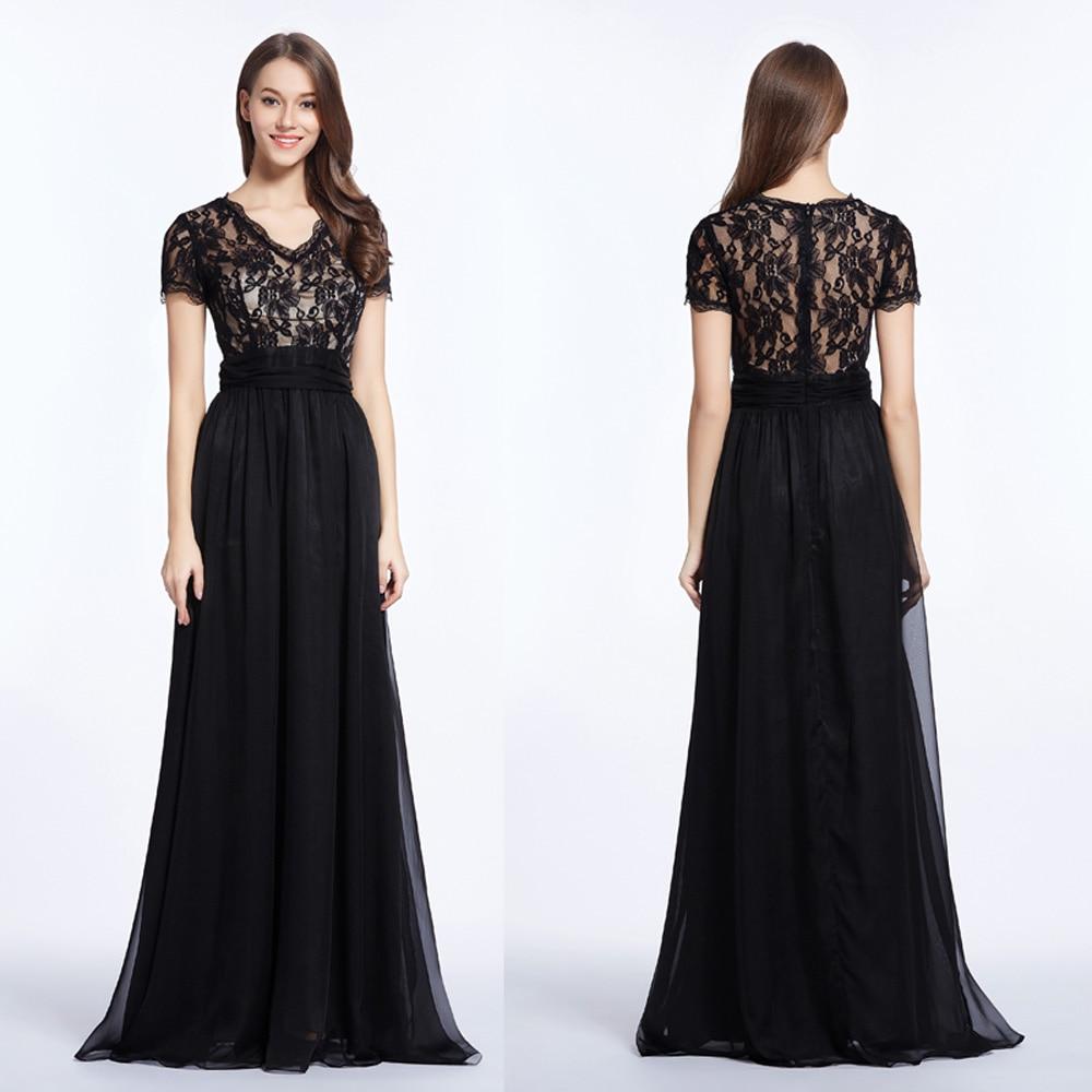 Online Get Cheap Long Sleeve Black Lace Maxi Chiffon Evening Dress ...