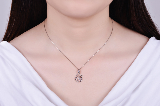 18K Rose Gold / 18K White Gold 0.08 CT Certified Diamond Phoenix Pendant with 925 Silver Chain