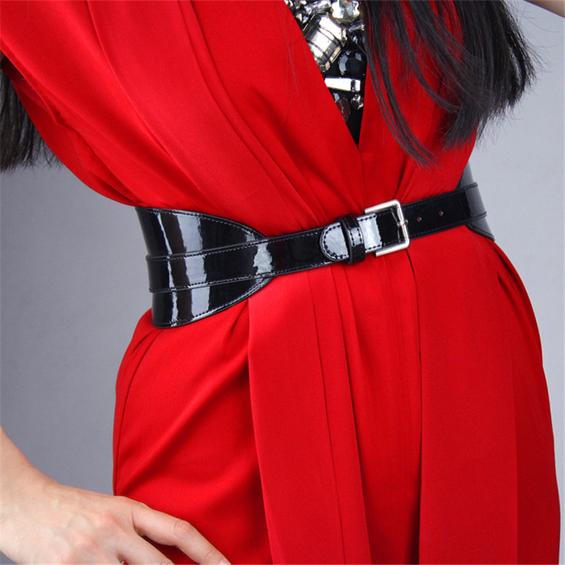 Bright Patent Leather PU Black Woman Belt Simulation Leather Metal Buckle Adjustable Elegant Waistband Female Cummerbunds VG10