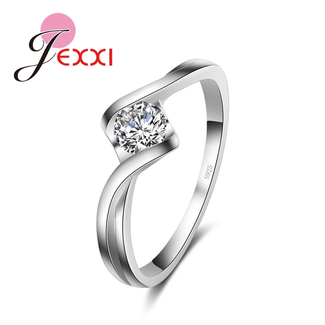 JEXXI 100% S90 Silver Ring Jewelry Have S925 Stamp With High Quality CZ Zircon W