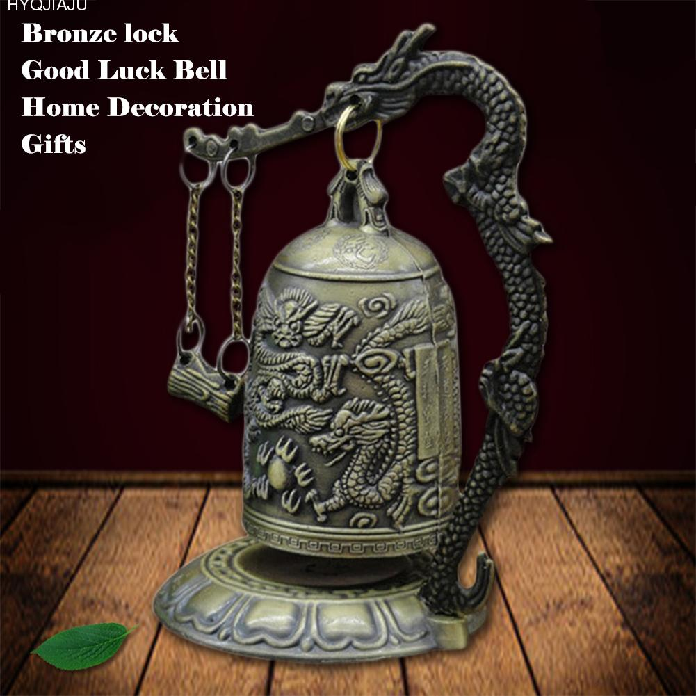 Small Carved Bronze Lock Monk Chime Dragon Bell Arts & Crafts Collectibles Ornaments Desk Decoration Chinese Sculptures Statue