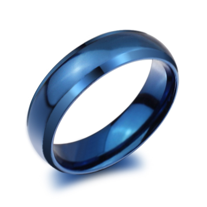 vintage jewelry size 4 14 ring anel aneis stainless steel rings 6mm engagement titanium band menwomen wedding blueblackgold