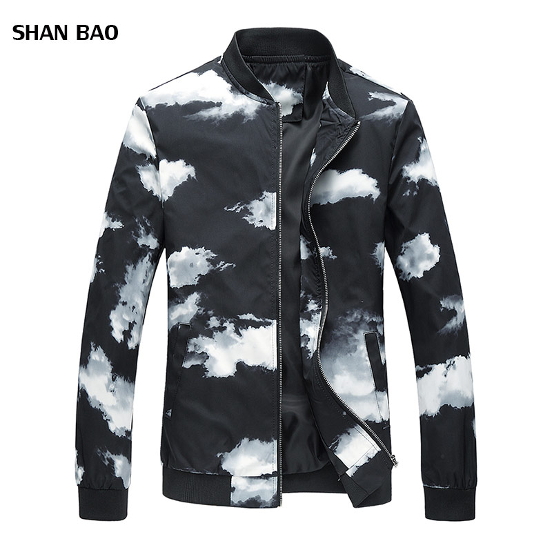 Men's Jacket 2018 Autumn New Fashion Slim Cloud Printed Jacket Men Trend Clothing Mens Jackets And Coats Plus Size 6XL