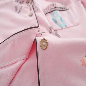 Image 5 - Pyjamas femmes 2018 nouveau printemps coton Pijamas ensemble mignon rose vêtements de nuit de dessin animé Pyjamas pour femmes Pijama Feminino Pyjama 2 pièces/ensemble