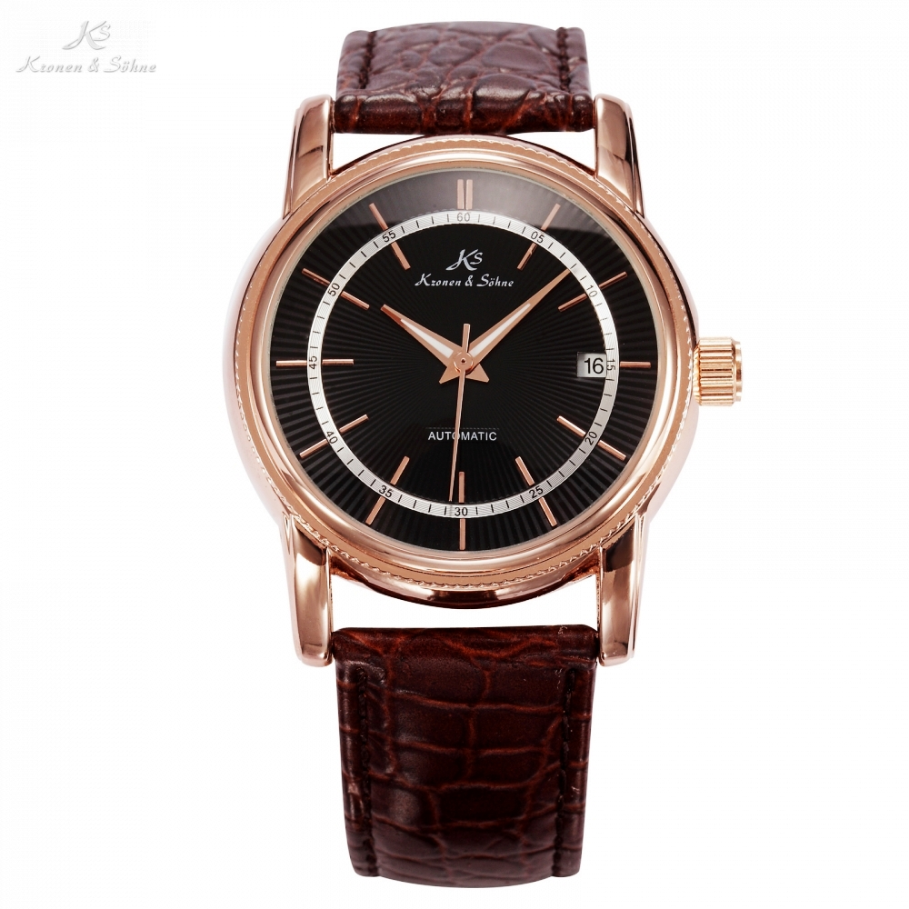 KS Black Dial Rose Gold Stainless Steel Case Date Display Automatic Mechanical Fluorescence Hands Leather Strap Men Watch /KS234