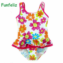 Funfeliz One Piece Swimwear girls Floral Print Kids swimsuit maillot de bain baby girl bikini  Children bathing suits 2-8 Years