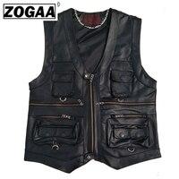 Multi Pocket Vest Men Black Photography Vests Genuine Leather Motorcycle Biker Waistcoat Male Autumn Sleeveless Jacket For Men