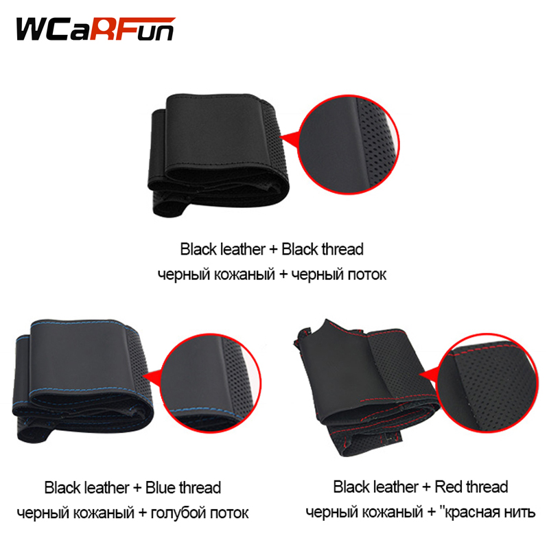WCaRFun Hand-Stitched Steering Cover Black Artificial Leather Car Steering Wheel Cover for Kia Forte Kia Soul Kia Rio 2009-2011