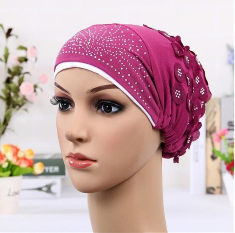 2017 New Women Double Color Turban Hat India Cap Muslim Hats Hairnet Chemo Cap Flower Bonnet Beanie for Women new cotton slouchy wrinkle cap double flower floral beanie hats for cancer chemo patients