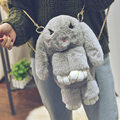 Funny Fur Rabbit Backpack School Bags For Teenager Girls Cartoon 3D Bunny Women Travel Shoulder Bag Chain Rucksack Mochila Li809