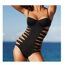 Wanita Perban Tinggi Pinggang Monokini Baju Renang Solid Halter Backless Musim Panas Swimsuit Padded One Piece Thong Brasil Kostum(China)