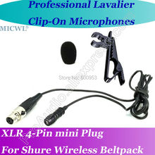 Professional MICWL TA4F mini 4Pin Microfone Lavalier Lapel Microphone for Shure Wireless Beltpack
