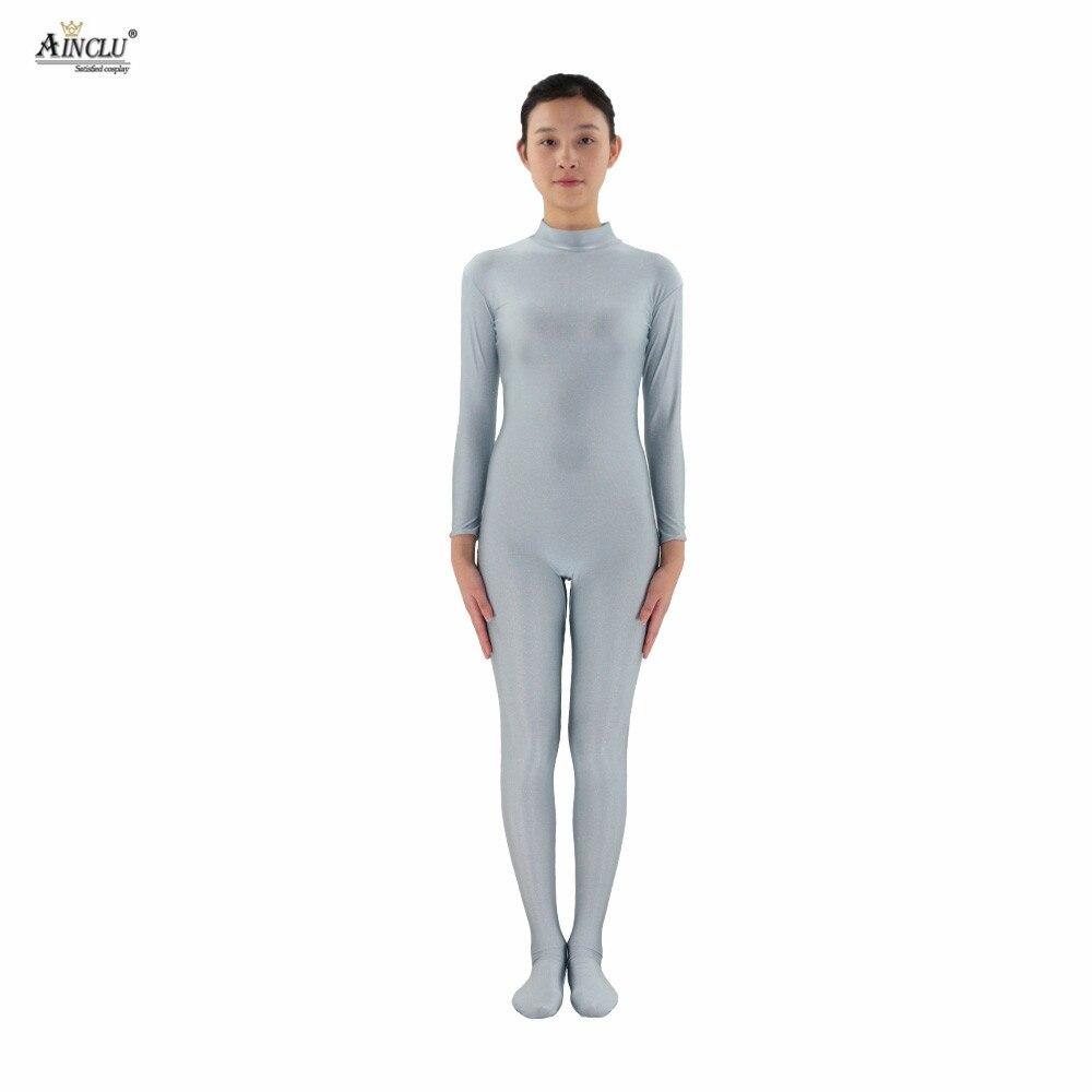 Ainclu Women Spandex Nylon Lycra Silver Headless Body Second Skin Tight Color Custom Skin Suit Open hands Cosplay Costume Zentai