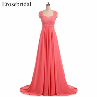 Cheap Chiffon Evening Dress Long Erosebridal A Line Formal Women Prom Dresses Lace Up Back Vestido