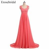 Cheap Chiffon Evening Dress Long Erosebridal A Line Formal Women Prom Dresses Lace Up Back Vestido