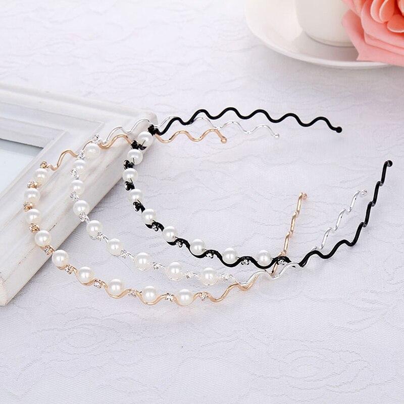Korean Fashion Women Hair Accessories Trendy Head Jewelry Gold Silver Black Color Pearl Crystal Headband Wave Hairband