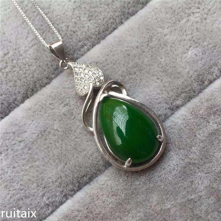 KJJEAXCMY boutique jewels S925 Pure silver inlay natural jasper female pendant + necklace plant floret vine accessories s925 pure silver personality female models new beeswax