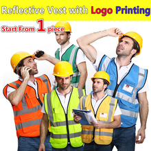SPARDWEAR High visibility construction vest logo printing security vest reflective safety vest with pockets free shipping