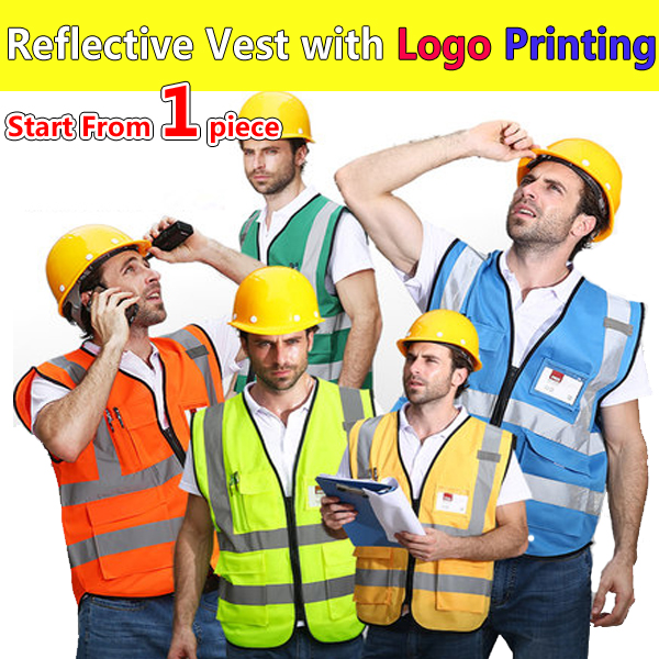 SPARDWEAR High visibility construction vest logo printing security vest reflective safety vest with pockets free shipping construction worker reflective safety vest with pockets with reflective tape