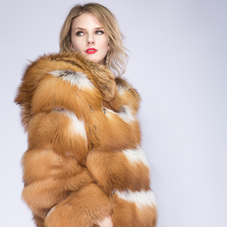 Red Fox Pelt Chaud Toute Hiver Taille Veste Mode mysterious Personnalisé Véritable Manteau Rouge De Argent Fourrure Renard La Fox Épais Réel Femmes Uxq1nSwCO