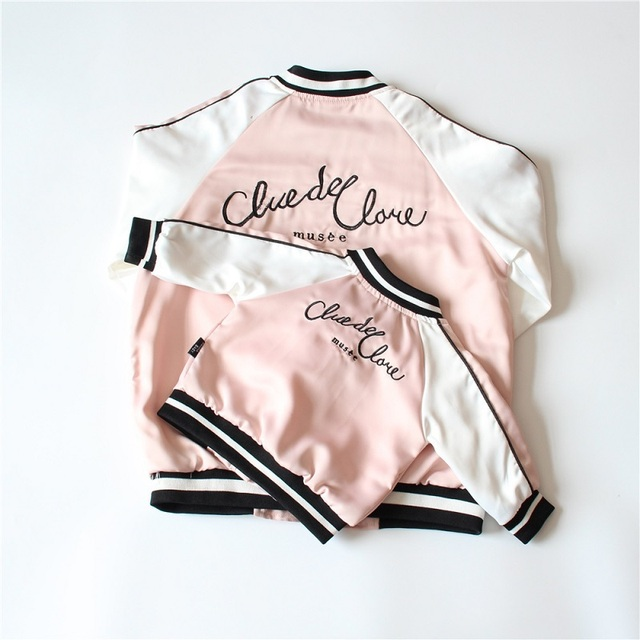 Family Matching Outfits Matching Mother and Daughter Clothes Baby Girls Boys Embroidery Letter Baseball Jacket Kids Outerwear