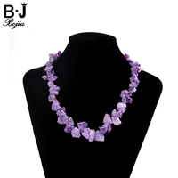BOJIU New Top Quality Girl Rainbow Color Nature Stone Necklaces Women Clothes Decorations With Chain