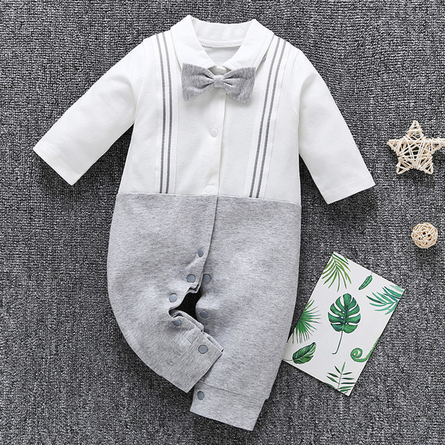 2ac2e7a947104 boys outfits Unisex Gentleman Infant Toddler Baby Boy Bow Straps Jumpsuit  Romper Clothes vetement bebe garcon Dropshipping 2019