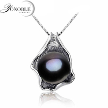 Pure black pearl pendant necklace recent water pearl pendant jewellery actual 925 sterling silver pendant girls woman birthday reward