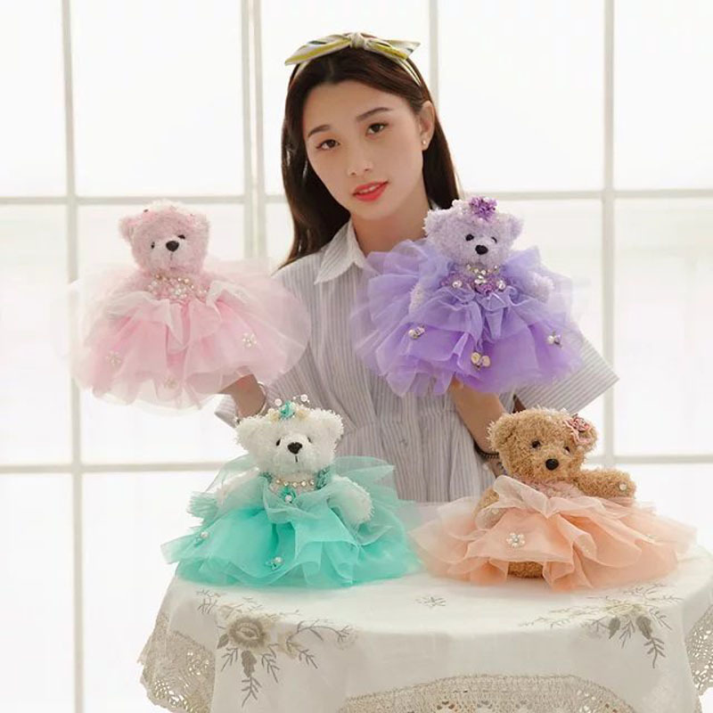 25Cm 4 Colors Cute Wedding Bear Plush Toys Mobile Phone Chain Pandant Dress Bear cloth doll lovers bear kids baby Christmas Gift
