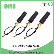 10pcs 2.4GHz Wifi uhf Antenna Omni Directional SMA Male 2.0dBi For rf Communication + PCI U.FL IPX to RP Pigtail Cable