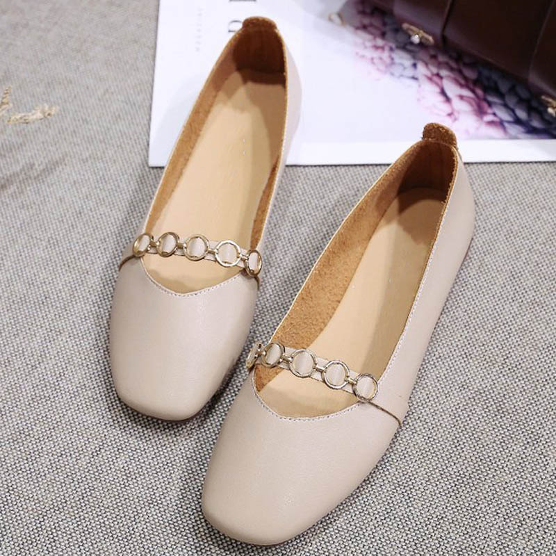 HEE GRAND 2019 New Spring Women Flats Solid Slip-On Causal Square Toe Shoes String Bead PU Leather Flats Size 35-40 XWD7578 1