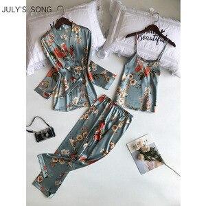 Image 1 - Пижамный комплект JULYS SONG женский из 3 предметов, атласный комплект на бретельках, из искусственного шелка, длинные штаны для сна и отдыха, одежда для сна